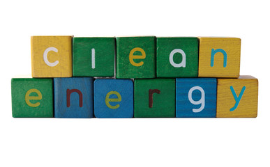 the words 'clean energy' isolated on white