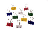 Binder clips over white background poster