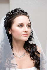 a beautiful face of the bride