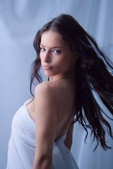 young beautiful woman, studio shot