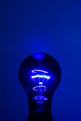 a Black light on blue background.