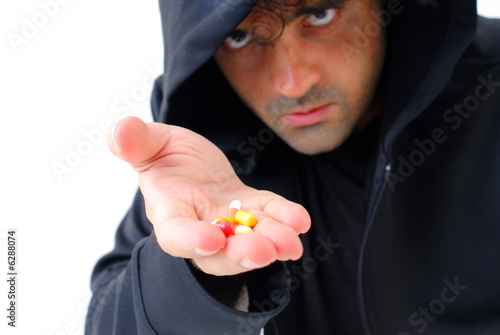 poster of Man offering drugs or medicines on white .