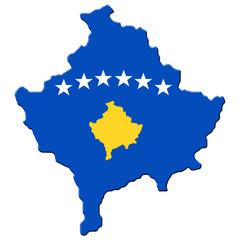 Carte drapeau du Kosovo
