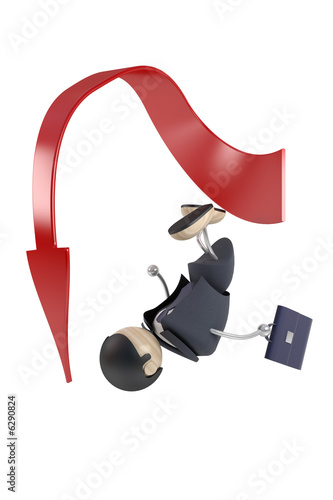 abstract businessman and arrow, failure, isolated