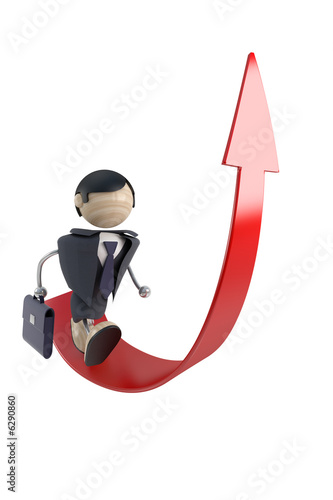 abstract businessman and arrow, rise, white background, isolated