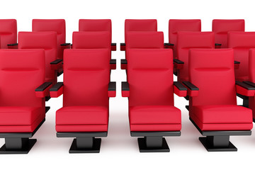 cinema, empty hall, red armchair, white background
