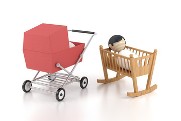 cartoon breast child in the cardle, baby carriage