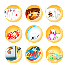 vector icon for casino games: roulette, poker, blackjack, slot
