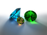 3D render of colorful precious stones poster