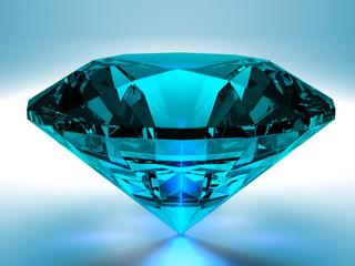 3D render of a blue diamond on a white background.