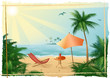 Leinwanddruck Bild Vector illustration, tropical beach