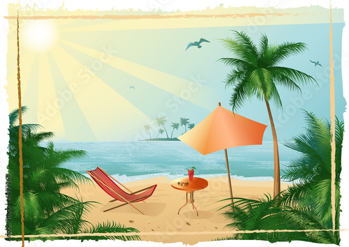 canvas print picture Vector illustration, tropical beach