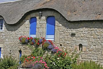 Plouharnel, Haus mit Reet-Dach, Bretagne