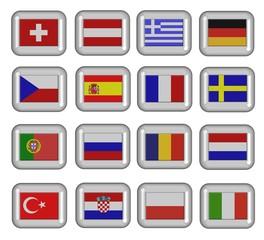 glasbuttons em teilnehmer flaggen