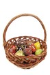 The basket with Easter eggs isolated on white background