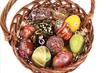 Easter basket with eggs isolated on white background