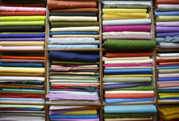 cloth on display inside showroom, delhi, india