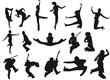 silhouettes humaines en mouvement et action