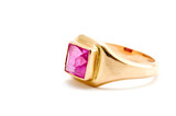 object on white - Golden ring with ruby poster