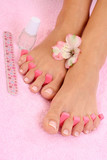 beautiful female legs with perfect pedicure poster