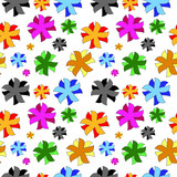 Vivid, colorful, repeating abstract flower background poster