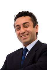 happy and energic businessman on white background