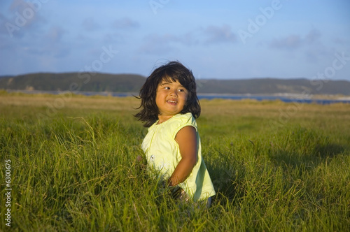 Happy cute little girl on the summer meadow in the evening