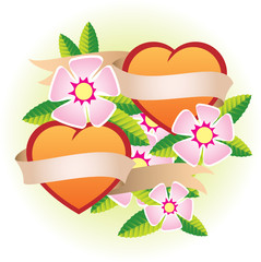 two hearts with flowers and ribbon