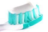 Toothbrush with toothpaste on white background poster