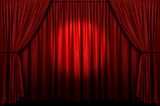 Red stage curtain with spotlight poster
