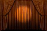 Gold stage curtain with spotlight poster