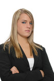 cute teen girl in formal attire with an attitude poster