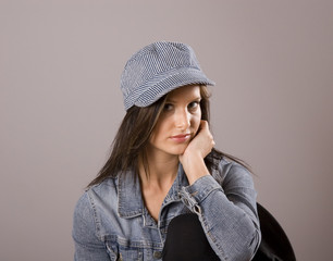 Brunette in Denim Jacket and Cap