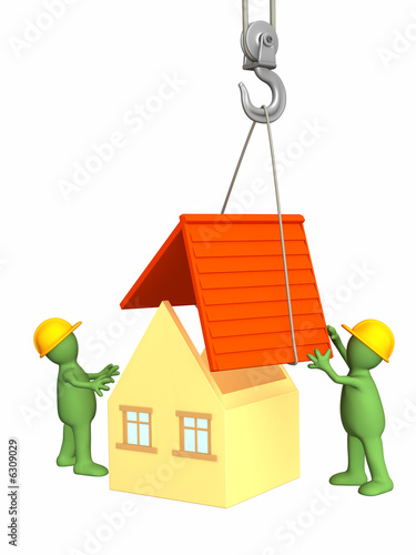 poster of The 3d working puppets building the house. Objects over white