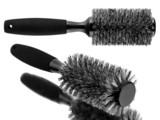 Black hairbrush set isolated on white background poster