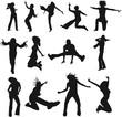 silhouettes humaines en mouvement
