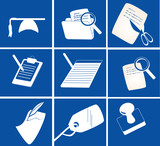 various stationery icons poster