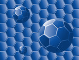 absstract with blue geometric shapes and spheres poster