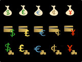 Vector based illustration of various financial objects/icons poster