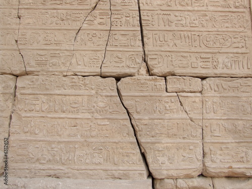 Ancient hieroglyphs in Karnak temple from Luxor