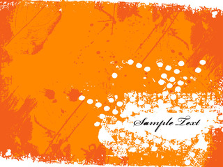 .orange inkblot isolated on white..