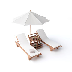 isolated two chairs and umbrella
