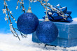blue Christmas balls and gift box