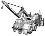 A sketchy schematic illustration of a tow truck. poster