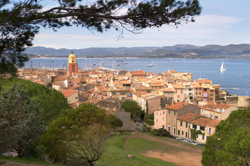 St Tropez 1 - town with sea in background