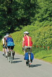 senior cyclists cycling along road warwickshire poster