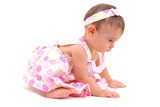 Beautiful Baby Girl learning how to crawl . poster
