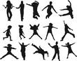silhouettes enfants - mouvement et dynamisme