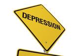 Depression road sign poster