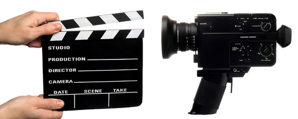 clapperboard   and  movie camera